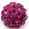 Rhinestone clay pave beads with color #23 fuchsia stones, Round, Approx 14mm, Hole: Approx 1.2mm, 100pcs per bag, Sold by bags.