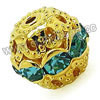 Rhinestone beads with color #5 aqua blue stones, Brass in gold plating, Dot pattern, Round, Approx 8mm, Hole: Approx 1mm, 100pcs per bag, Sold by Bags