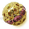Rhinestone beads with color #18 rose stones, Brass in gold plating, Dot pattern, Round, Approx 8mm, Hole: Approx 1mm, 100pcs per bag, Sold by Bags