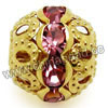 Rhinestone beads with color #18 rose stones, Brass in gold plating, Dot pattern, Round, Approx 10mm, Hole: Approx 1mm, 100pcs per bag, Sold by Bags