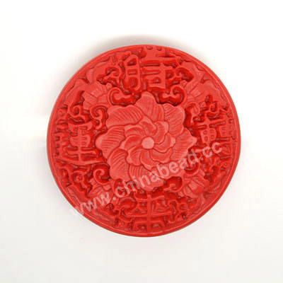 Cinnabar beads, Red, Flower good fortune Chinese symbol flat round carved, Approx 55x17mm, Hole: Approx 2mm, Sold by PCS