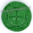 Cinnabar beads, Green, Leaf flat round carved, Approx 30x11mm, Hole: Approx 2mm, Sold by PCS