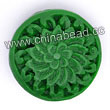 Cinnabar beads, Green, Flower flat round carved, Approx 19x9mm, Hole: Approx 2mm, Sold by PCS