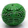Cinnabar beads, Green, Longevity long life Chinese symbol round carved, Approx 23mm, Hole: Approx 2mm, Sold by PCS