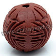 Cinnabar beads, Brown, Longevity long life Chinese symbol round carved, Approx 16mm, Hole: Approx 2mm, Sold by PCS