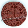 Cinnabar beads, Brown, Longevity Chinese symbol flat round carved, Approx 27x10mm, Hole: Approx 2mm, Sold by PCS