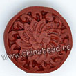 Cinnabar beads, Brown, Flower flat round carved, Approx 19x9mm, Hole: Approx 2mm, Sold by PCS
