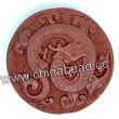 Cinnabar beads, Brown, Flower dragon animal flat round carved, Approx 43x11mm, Hole: Approx 2mm, Sold by PCS