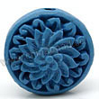 Cinnabar beads, Blue, Flower flat round carved, Approx 19x9mm, Hole: Approx 2mm, Sold by PCS