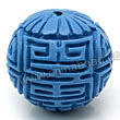 Cinnabar beads, Blue, Longevity long life Chinese symbol round carved, Approx 23mm, Hole: Approx 2mm, Sold by PCS