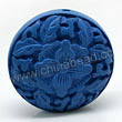 Cinnabar beads, Blue, Flower flat round carved, Approx 31x13mm, Hole: Approx 2mm, Sold by PCS