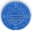 Cinnabar beads, Blue, Longevity Chinese symbol flat round carved, Approx 30x9mm, Hole: Approx 2mm, Sold by PCS