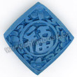 Cinnabar beads, Blue, Good fortune happiness good luck Chinese symbol flat square carved, Approx 21x21x8mm, Hole: Approx 2mm, Sold by PCS