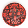 Cinnabar beads, Red and black, Flower flat round carved, Approx 42x14mm, Hole: Approx 2mm, Sold by PCS