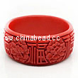 Cinnabar/Lacquer bangles/bracelets, Red, Carved Flower, Good fortune Chinese symbol, The widest, OD82mm x H33mm x ID66mm, Sold by PCS