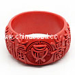 Cinnabar/Lacquer bangles/bracelets, Red, Carved Longevity Chinese symbol, The widest, OD77mm x H36mm x ID62mm, Sold by PCS