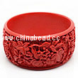 Cinnabar/Lacquer bangles/bracelets, Red, Carved Good luck Chinese symbol, The widest, OD77mm x H33mm x ID62mm, Sold by PCS