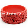 Cinnabar/Lacquer bangles/bracelets, Red, Carved Dragon and phoenix animal, Large-diameter and The widest, OD82mm x H33mm x ID65mm, Sold by PCS