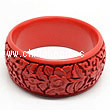 Cinnabar/Lacquer bangles/bracelets, Red, Carved Flower, Large-diameter and The widest, OD88mm x H34mm x ID71mm, Sold by PCS
