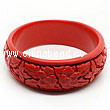 Cinnabar/Lacquer bangles/bracelets, Red, Carved Flower, Large-diameter and large wide, OD87mm x H26mm x ID71mm, Sold by PCS
