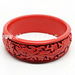 Cinnabar/Lacquer bangles/bracelets, Red, Carved Dragon and phoenix animal, Large-diameter and large wide, OD87mm x H26mm x ID71mm, Sold by PCS
