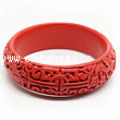 Cinnabar/Lacquer bangles/bracelets, Red, Carved Gourd leaf, Large wide, OD78mm x H22mm x ID63mm, Sold by PCS