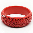 Cinnabar/Lacquer bangles/bracelets, Red, Carved Flower, Large wide, OD77mm x H23mm x ID62mm, Sold by PCS