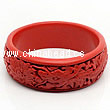 Cinnabar/Lacquer bangles/bracelets, Red, Carved Dragon and phoenix animal, Large wide, OD80mm x H24mm x ID65mm, Sold by PCS