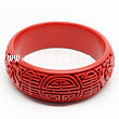 Cinnabar/Lacquer bangles/bracelets, Red, Carved Rose flower, Longevity Chinese symbol, Large wide, OD76mm x H24mm x ID61mm, Sold by PCS