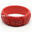 Cinnabar/Lacquer bangles/bracelets, Red, Carved Double happiness Chinese symbol, Large wide, OD76mm x H23mm x ID63mm, Sold by PCS