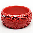 Cinnabar/Lacquer bangles/bracelets, Red, Carved Butterfly animal, The widest, OD77mm x H33mm x ID64mm, Sold by PCS