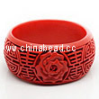 Cinnabar/Lacquer bangles/bracelets, Red, Carved Rose flower, Longevity Chinese symbol, The widest, OD79mm x H33mm x ID62mm, Sold by PCS