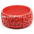 Cinnabar/Lacquer bangles/bracelets, Red, Carved Flower Good fortune as one wishes Chinese symbol, The widest, OD77 x H32 x ID64mm, Sold by PCS
