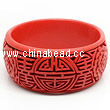Cinnabar/Lacquer bangles/bracelets, Red, Carved Peony flower Longevity Chinese symbol, The widest, OD79 x H33 x ID65mm, Sold by PCS