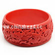 Cinnabar/Lacquer bangles/bracelets, Red, Carved Dragon and Phoenix animal, The widest, OD79 x H33 x ID66mm, Sold by PCS