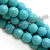 Gemstone beads, Dyed blue turquoise, Faceted round, Approx 6mm, Hole: Approx 1mm, Approx 66 pieces per strand, Sold by strands