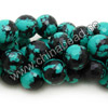 Gemstone beads, Dyed black veins turquoise, Faceted round, Approx 18mm, Hole: Approx 1.2mm, Approx 22 pieces per strand, Sold by strands