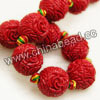 Gemstone Beads, Carved floral design, Red coral, Round, Approx 20mm, Hole: Approx 2mm, 16pcs per strand, Sold by strands