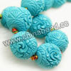 Gemstone Beads, Carved floral design, Blue turquoise, Round, Approx 25mm, Hole: Approx 2mm, 15pcs per strand, Sold by strands