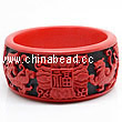 Cinnabar/Lacquer bangles/bracelets, Red & Black, Carved Four therion, The widest, OD77mm x H33mm x ID62mm, Sold by PCS