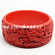 Cinnabar/Lacquer bangles/bracelets, Red & Black, Carved Dragon and phoenix animal, Large-diameter and The widest, OD82mm x H33mm x ID65mm, Sold by PCS