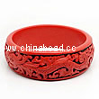 Cinnabar/Lacquer bangles/bracelets, Red & Black, Carved Dragon and phoenix animal, Large wide, OD80mm x H24mm x ID65mm, Sold by PCS