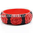 Cinnabar/Lacquer bangles/bracelets, Red & Black, Carved Rose flower, Large wide, OD75mm x H24mm x ID62mm, Sold by PCS