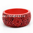 Cinnabar/Lacquer bangles/bracelets, Red & Black, Carved Rose flower, Longevity Chinese symbol, The widest, OD79mm x H33mm x ID62mm, Sold by PCS