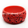 Cinnabar/Lacquer bangles/bracelets, Red & Black, Carved Dragon and phoenix animal, The widest, OD77mm x H33mm x ID60mm, Sold by PCS