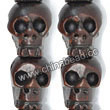 Carved Hard Wood Skull Beads, Brown, Skull, Approx 13x14mm, Hole: Approx 3mm, Sold by PCS