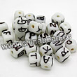Glass Beads, Handmade lampwork, White, Brown English alphabets studded, Cube, Approx 10x10mm, Hole:Approx 2mm, Sold by BAGS.