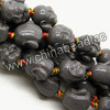 Gemstone Beads, Carved Maitreya Buddha design, Dark gray, Approx 15x15mm, Hole: Approx 2mm, 20pcs per strand, Sold by strands