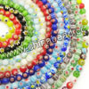 Glass chevron beads, Assorted colors, Smooth round, Approx 4mm, Hole: Approx 0.8mm, 97pcs per strand, Sold by strands