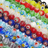 Glass chevron beads, Assorted colors, Smooth round, Approx 6mm, Hole: Approx 1mm, 65pcs per strand, Sold by strands